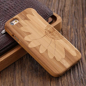 FLOVEME Wooden Case For iPhone 6 6S Plus 5S 5 SE 3D Wood Bamboo Wolf Cross Cover - Scotch and Rocks