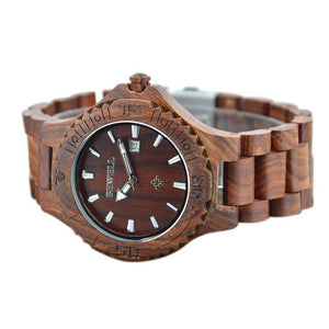 Men's Natural Wooden Wristwatch Wood Watch Quartz with Date + Box - Scotch and Rocks