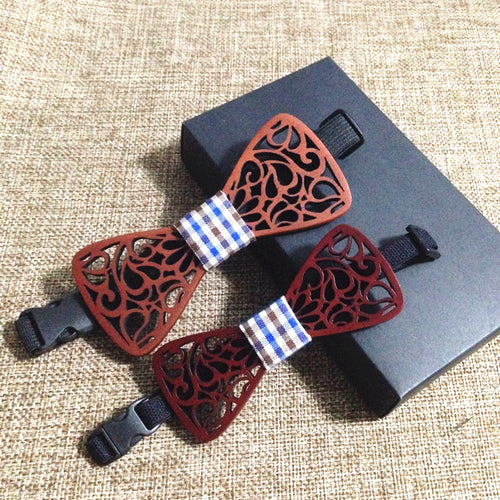 Father and son set tie Carved Wooden Bow Ties Hnadkerchief Sets Wedding Wood Bow - Scotch and Rocks