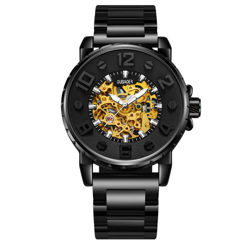 OUBAOER 3D Designer Automatic Mechanical Watch Men Top Brand Luxury Stainless St - Scotch and Rocks