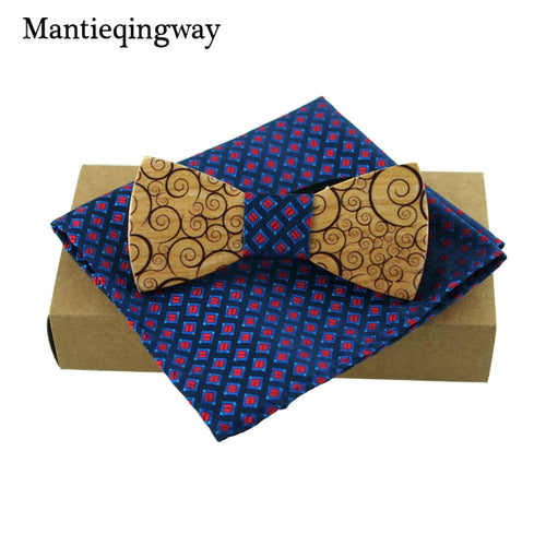 Hand crafted wooden bow tie set with stylish pocket square - Scotch and Rocks