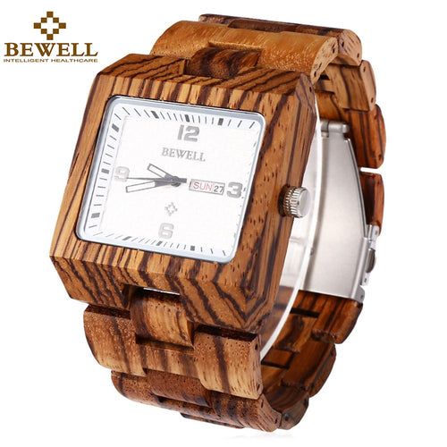 BEWELL Handmade Wooden Watches for Men Waterproof Square Dial Analog Quartz Wris - Scotch and Rocks