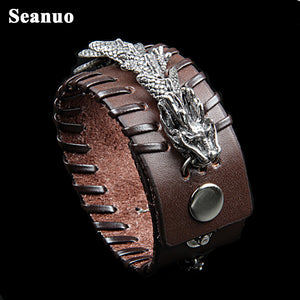 Seanuo Punk Man Braided Cuff Leather Dragon bracelet - Scotch and Rocks