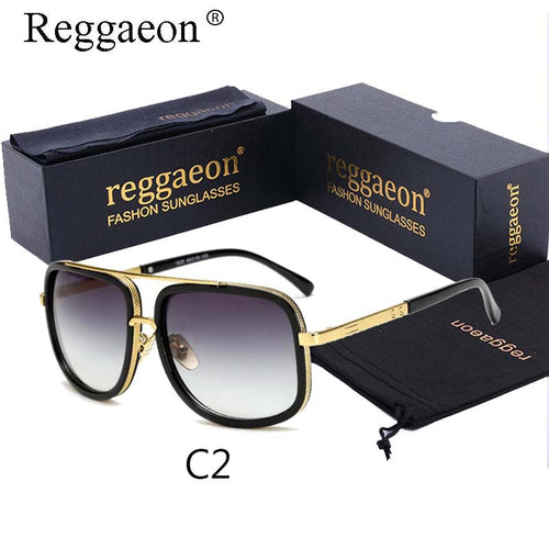 New Brand men women designer Large frame sunglasses Double Beam steampunk  sunglasses Square Sunglasses gray - Scotch and Rocks