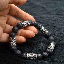 MKENDN 2017 Viking Rune Lava Bead Bracelet Men Explorer Stone Charm Bracelet Jew - Scotch and Rocks