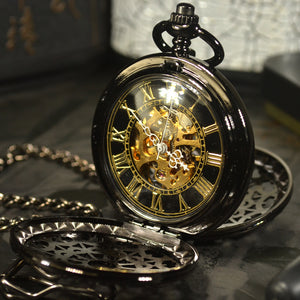 TIEDAN Steampunk Luxury Fashion Antique Skeleton Mechanical Pocket Watch Men Cha - Scotch and Rocks