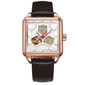 Oubaoer Architect Series Automatic Mechanical Watch Men Luxury Brand Rose Gold S - Scotch and Rocks