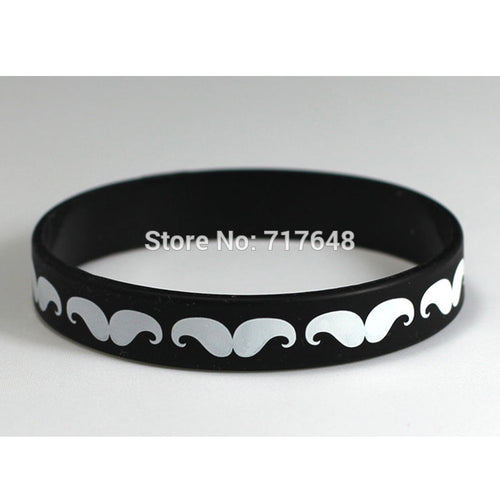 200pcs Black and White MUSTACHE wristband silicone bracelets free shippin - Scotch and Rocks