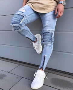 Mens Ripped Slim Fit Motorcycle Vintage Denim Jeans Hiphop Streetwear Pants - Scotch and Rocks