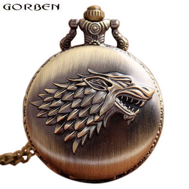 Game Of Thrones Stark House Wolf Pocket Watch!! Retro Bronze!! - Scotch and Rocks