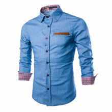 2018 Fashion Brand Slim Fit Men Long Sleeve Patchwork Shirt Cotton Men Denim Casual Shirt Male Camisa Social Men Dress Shirt - Scotch and Rocks