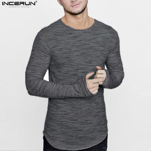 Long Sleeve Men T Shirt Soft Casual Extended Longline curved hem.. - Scotch and Rocks