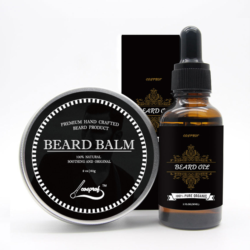 Cospof Beard Balm Moustache Cream Beard Oil Set - Scotch and Rocks