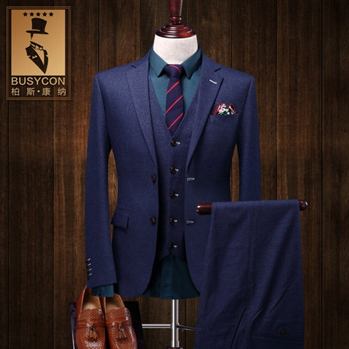 Elegant Royal Blue Mens Suit Slim Fit 3 Pieces Tuxedo - Scotch and Rocks