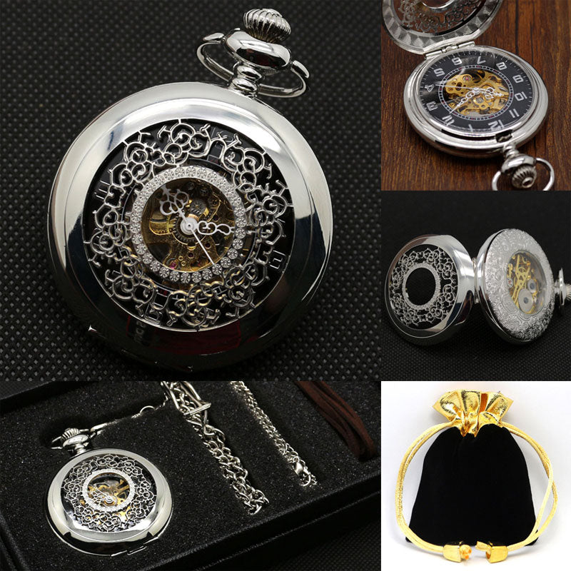 Hand Winding Luxury Mechanical Pocket Watch Sliver Dial - Customized Retro - Scotch and Rocks