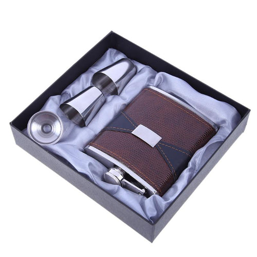 7oz Luxury Stainless Steel Leather Hip Flask Set Wine Bottle Whiskey Flask Drink - Scotch and Rocks