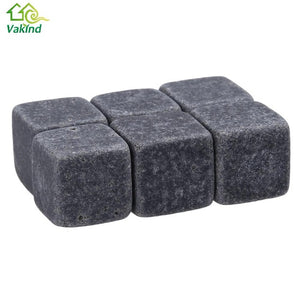 6Pcs Natural Whiskey Stones Rock Ice Stone Sipping Whisky Alcohol Cooler Wedding - Scotch and Rocks