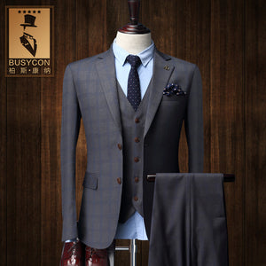 Terno Masculino Casamento Slim Fit Suit Grey Plaid 3 Pieces - Scotch and Rocks