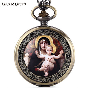 Virgin Mary Holding A Baby Quartz Pocket Watch Roman Numerals Dial Christian God's Son Jesus Pocket Watch Fob Chain Necklace - Scotch and Rocks