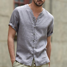 Comfortable Thin Summer Cotton Linen Casual Shirts Men V Neck Button Cover Short Sleeve Dress Shirt Plus Size M-3XL White Black - Scotch and Rocks