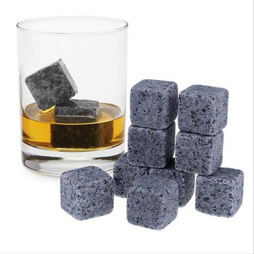 9pcs Natural Whiskey Stones Sipping Ice Mold - Whisky Rock Cooler - Scotch and Rocks