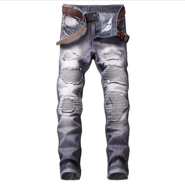 Multicolor Cotton Jeans Men Straight Hole Skinny Jeans - Scotch and Rocks