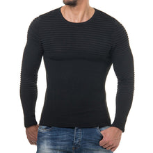 Men's Autumn Winter Striped Drape Knit O-Neck Long Sleeve T-shirt Top Blouse - Scotch and Rocks