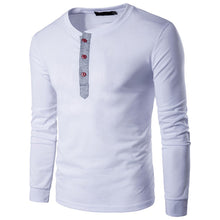 Men's Autumn Winter Casual Splicing Henry Button Long Sleeve Shirt Top Blouse - Scotch and Rocks