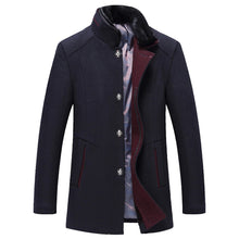Men's Casual Wool Trench Coat Fashion Business Long Thicken Slim Overcoat Jacket - Scotch and Rocks