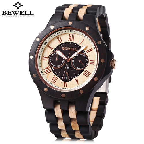BEWELL Mens Watches, Male Business Wood Watch, Man Dress Quartz Watch, Waterproo - Scotch and Rocks