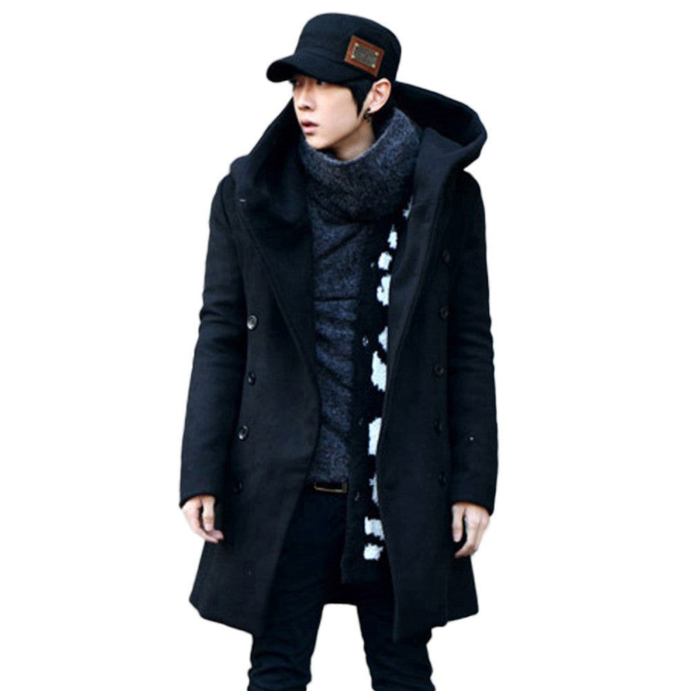 Men's Winter Warm Fit Trench Coat Button Hooded Jacket Long Sleeve Outwear Top - Scotch and Rocks