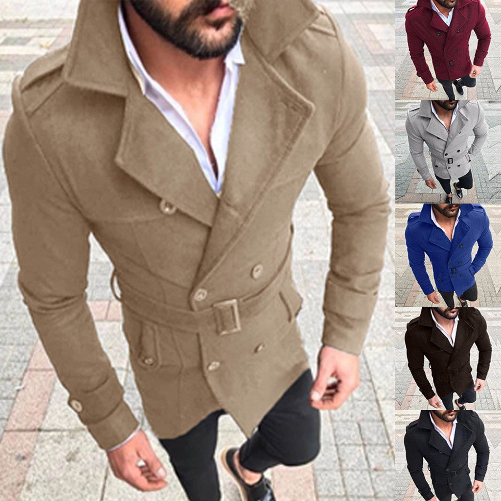 Men's Autumn Winter Slim Fit Long Sleeve Suit Top Jacket Trench Coat Outwear - Scotch and Rocks