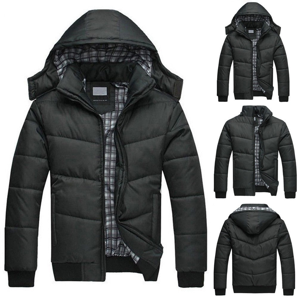Men's Black Puffer Jacket Warm Overcoat Outwear Padded Hooded Down Winter Coat - Scotch and Rocks