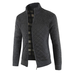 Men's Autumn Winter Packwork Warm Zipper Jacket Knit Cardigan Long Sleeve Coat - Scotch and Rocks
