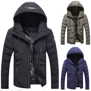 Men's Winter Warm Hooded Zipped Thick Solid Fleece Coat Cotton-padded jacket - Scotch and Rocks