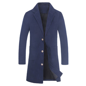 Men's Solid Coat Tailcoat Jacket Turn Down Collar Woolen Coat Party Outwear - Scotch and Rocks