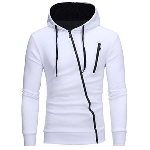 Men Masculino Hoodies,Diagonal zipper men's slim hooded cardigan sweater - Scotch and Rocks