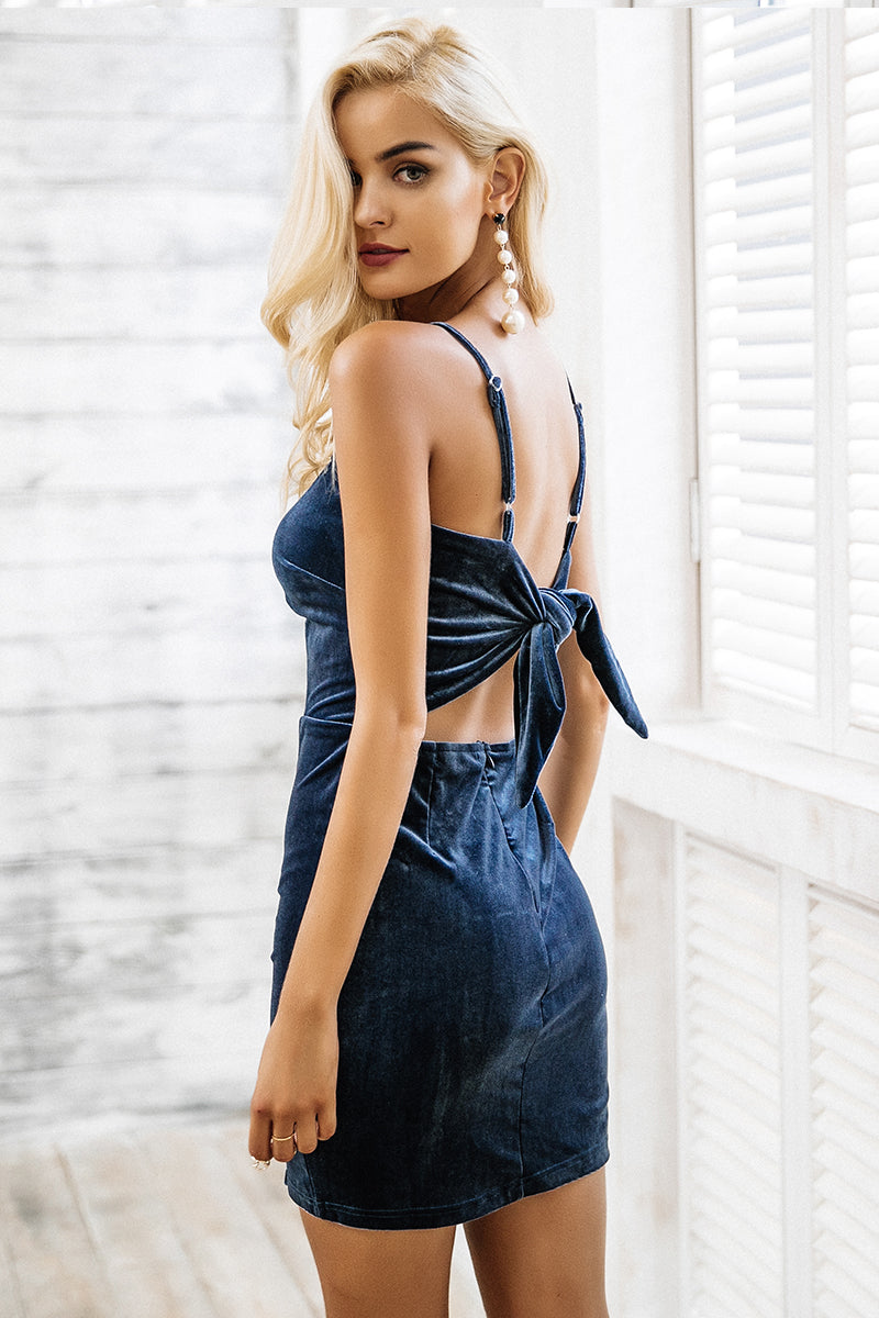 Bianca-dress-velvet-body con-skirt-bow tie-tie up-mini-straps-exposed-back-adjustable-split-stretch-casual-winter-autumn-summer-spring-elegant-party-special