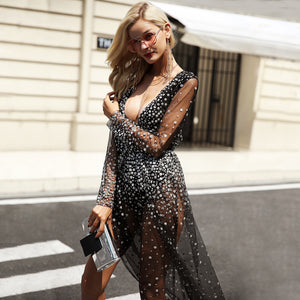 Dress-Maxi-Long-sequin-crystal-v-neckline-flow-long-sleeve