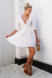 Havana-Dress-Lace-Greece-europe-v neckline-knee length-button-up-aline-skirt-empire waist-quarter sleeve-santorini