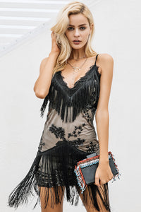 Inala-dress-lace-sexy-tassel-bodycon-party-club-wedding-black-v neck-mini-skirt-