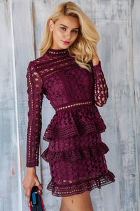 dress-lace-mini-skirt-long-sleeve-ruffle-party-winter-geometric-pattern