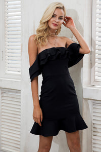 dress-sexy-party-date-little-black-dress-ruffle-mini-skirt-ruffle-off-the-shoulder