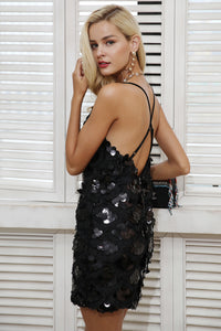 dress-sexy-party-sequin-body-con-v-neckline-mini-skirt-black-LBD-cock-tail