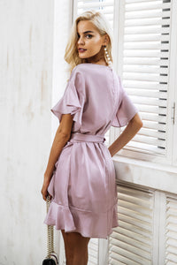 dress-wrap-around-frill-sleeve-v-neckline-tie-up-bow