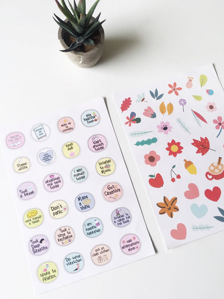 Self Care Stickers | Pack of 2 | A5 Size