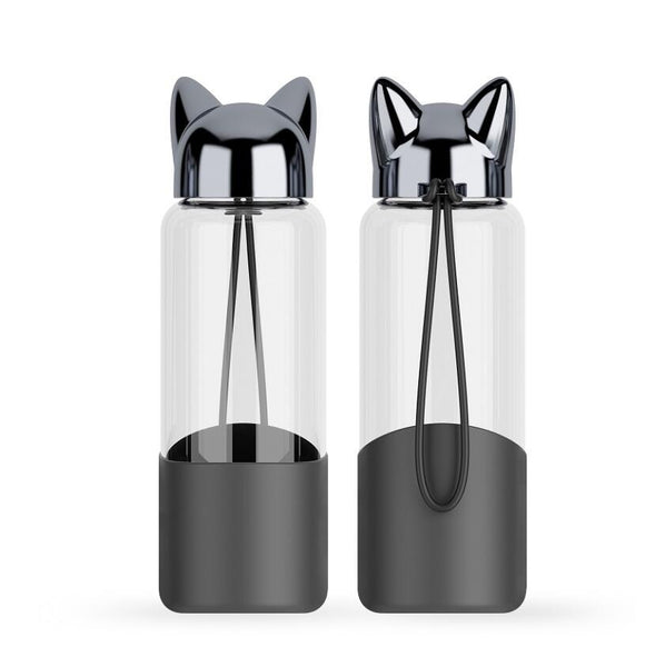 Luxurious Fox Eco Friendly Glass Water Bottle | Black/Champagne