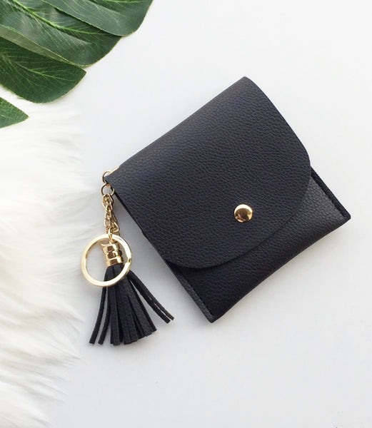 Gold Tassel Money Purse with keychain | Royal Black/ Dark grey