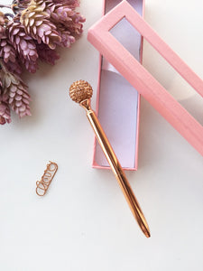 Majestic Diamond Ball Rose Gold ballpoint Pen | Black Ink