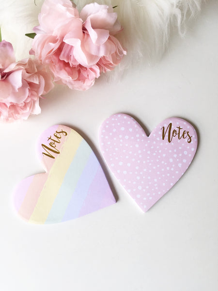 Heart to Heart Gold foiled Sticky Notes | Self Adhesive | 3.5""